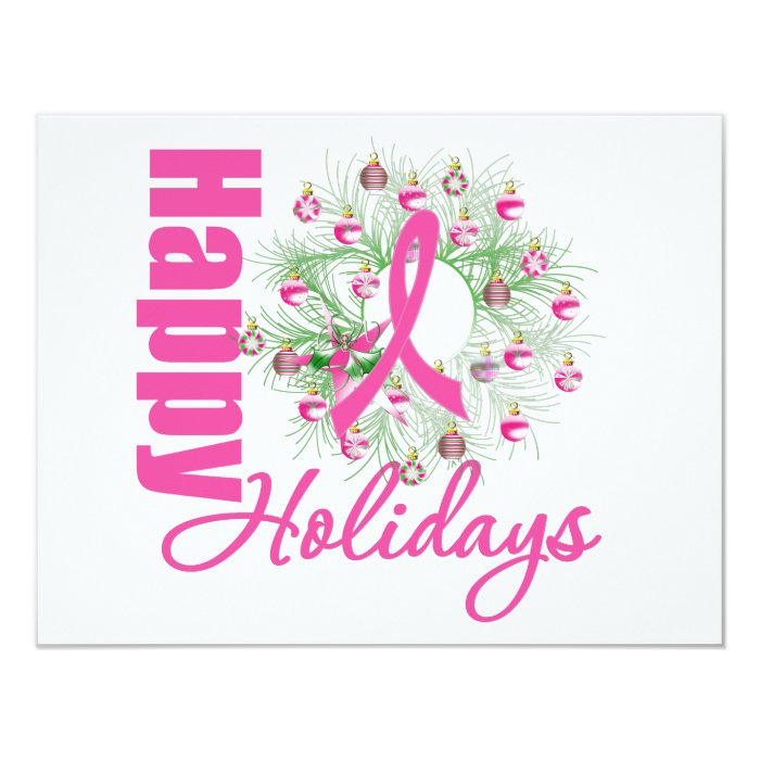 Happy Holidays Pink Ribbon Wreath 11 Cm X 14 Cm Invitation Card