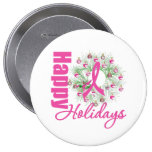 Happy Holidays Pink Ribbon Wreath Button