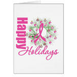 Happy Holidays Pink Ribbon Wreath Cards