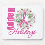 Happy Holidays Pink Ribbon Wreath Mousemat