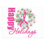 Happy Holidays Pink Ribbon Wreath Post Cards