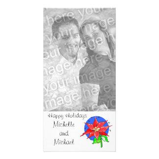 Happy Holidays Poinsettia Customizable Photo Card