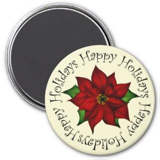 Happy Holidays Poinsettia Magnet