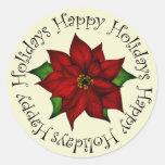Happy Holidays Poinsettia Stickers