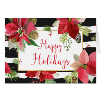 Happy Holidays Poinsettias, Black Stripes Card