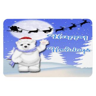 Happy Holidays Polar Bear Flex Magnets