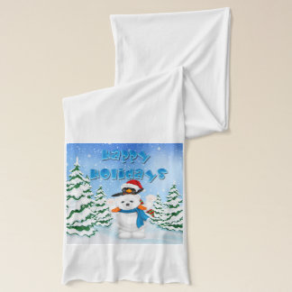 Happy Holidays Polar Bear Penguin Scarf