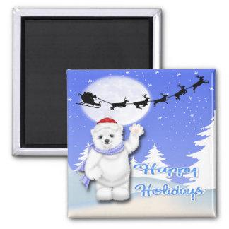 Happy Holidays Polar Bear Square Magnet