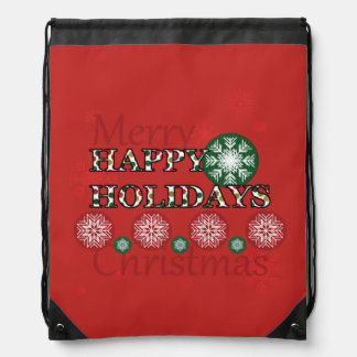 Happy Holidays Polkadot Word Art Drawstring Bag