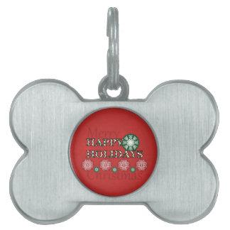Happy Holidays Polkadot Word Art Pet Name Tag