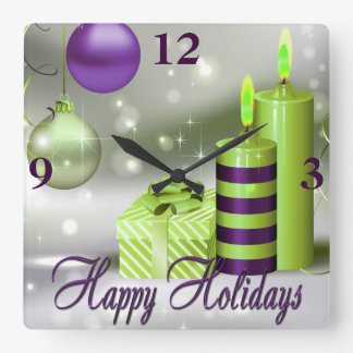 Happy Holidays Purple Green Decorations Square Wall Clock