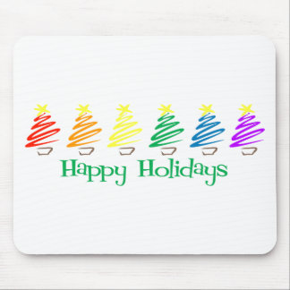 Happy Holidays (Rainbow Christmas Trees) Mouse Pads