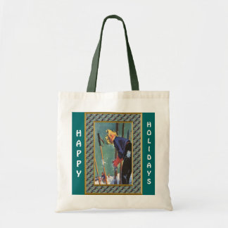 Happy Holidays  Ready to ski Budget Tote Bag