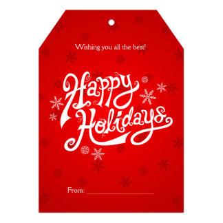 Happy Holidays Red 5x7 Invitation Tag