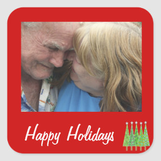 Happy Holidays Red Add your own photo Stickers