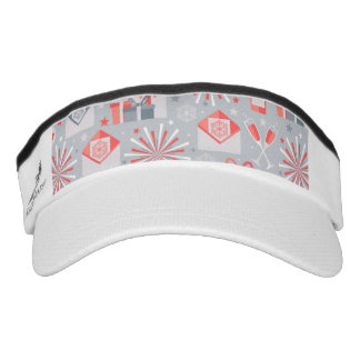 Happy Holidays Red and Silver Pattern Visor
