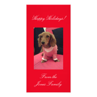 Happy Holidays Red Background Sally's Fave Photo Card Template