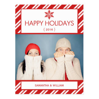 Happy Holidays Red Candy Cane Postcard