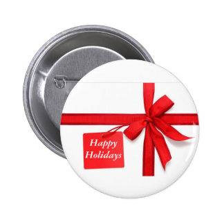Happy Holidays Red Christmas Bow Button