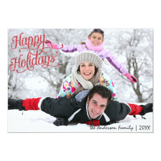 Happy Holidays red glitter Christmas Card 13 Cm X 18 Cm Invitation Card