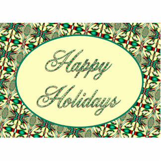 happy holidays red green acrylic cut out