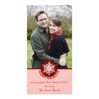 Happy Holidays Red Paper Snowflake 4x8 Photo Cards