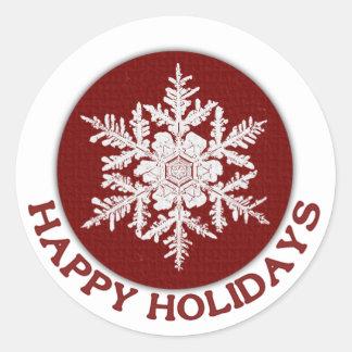 Happy Holidays Red Paper Snowflake Round Sticker