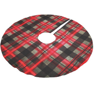 Happy Holidays Red Plaid Home Decorating Brushed Polyester Tree Skirt