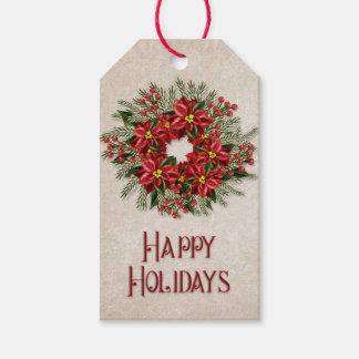 Happy Holidays | Red Poinsettia Flowers Wreath Gift Tags
