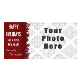 Happy Holidays Red Snowflake Photo Card