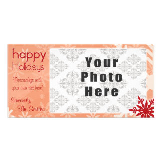 Happy Holidays Red Themed Snowflake Card