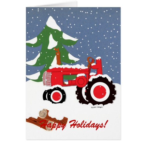 Happy Holidays Red Tractor Greeting Card