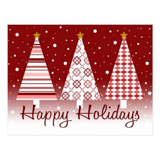 Happy Holidays Red Trees - postcard