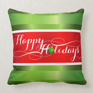Happy Holidays Red White Green Gradient Bands Cushion
