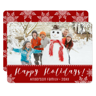 Happy Holidays Red & White Personalised Photo Card