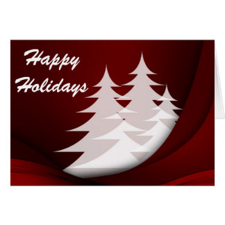 Happy Holidays, Red with White Trees Card