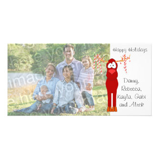 Happy Holidays Reindeer And Candy Cane Photo Card