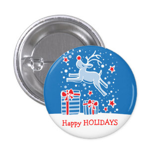 Happy Holidays reindeer christmas button/badge 3 Cm Round Badge