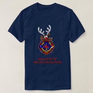 Happy Holidays Reindeer San Jose Fire Department T-Shirt