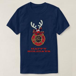Happy Holidays Reindeer St. Louis Fire Department T-Shirt