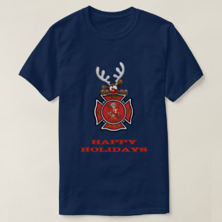Happy Holidays Reindeer Tremont Fire Department T-Shirt