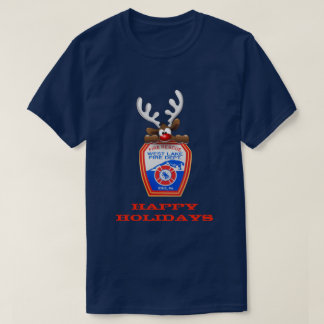 Happy Holidays Reindeer West Lake Fire Department T-Shirt