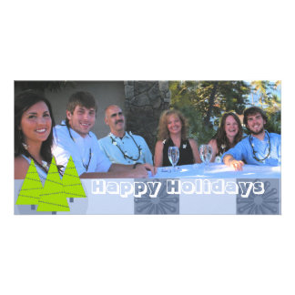 Happy Holidays Retro Lime Trees Family Photo Card