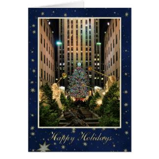 Happy Holidays: Rock Center, Blue Starry Sky Card