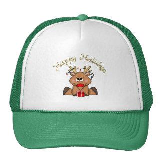 Happy Holidays Rudy Reindeer Hat