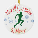 Happy Holidays Runners! Round Ceramic Decoration