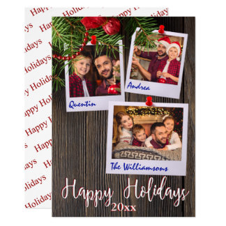 Happy Holidays Rustic Bulletin Board Photo Card