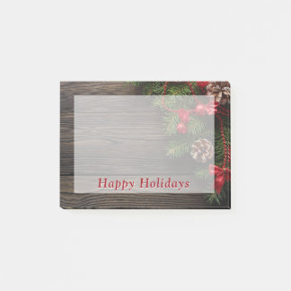 Happy Holidays Rustic Country Christmas Wreath Post-it Notes