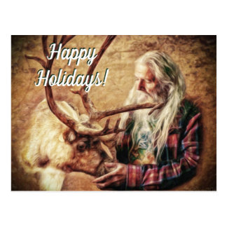 Happy Holidays Santa and Reindeer by Shawna Mac Postcard