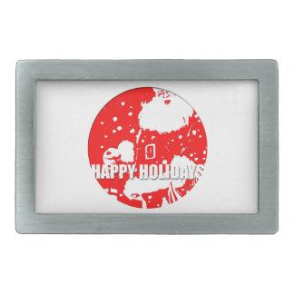 Happy Holidays - Santa Claus - Rectangular Belt Buckle